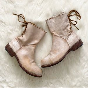 bed stu - leather lace-up back ankle boots